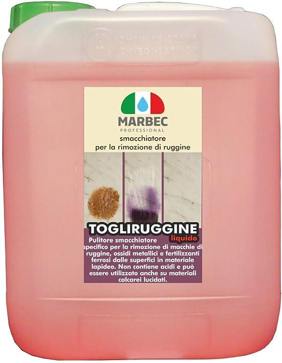 Marbec - TOGLIRUGGINE LIQUIDO 5 LT | Quitamanchas específico para eliminar manchas de roya, óxidos metálicos y los fertilizantes ferrosos desde suelos y revestimientos: Amazon.es: Hogar
