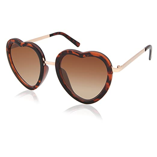 f01c2a76a90 Facewear Designer Heart Shaped Sunglasses for Women Metal UV400 Gradient 3  Colors FW3001 C3 brown