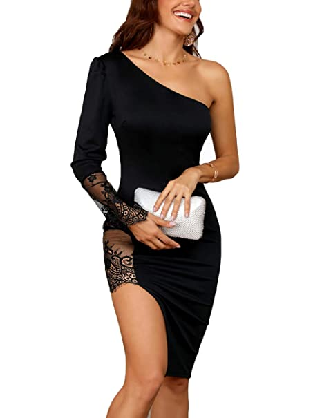 9104cb7e27c Ninimour Women Sexy One Shoulder Lace Insert Slit Bodycon Dress at Amazon  Women's Clothing store: