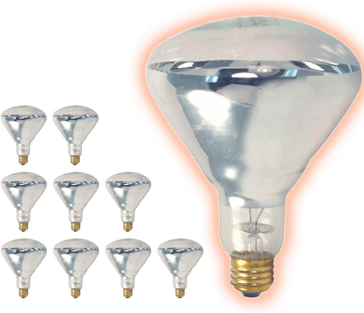 25O Watt Heat Lamp BR40 Light Bulbs | Incandescent Restaurant Bulb with E26 Medium Base | 2700K Warm White 3250 Lumens | Restaurant Light Bulbs | 10 Pack by GoodBulb