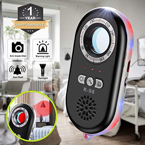 Anti-Spy Hidden Camera Detector Infrared Portable Safesound Personal Alarm 3-in-1 Functionality Defense Emergency Alert with Mini LED Flashlight for ...