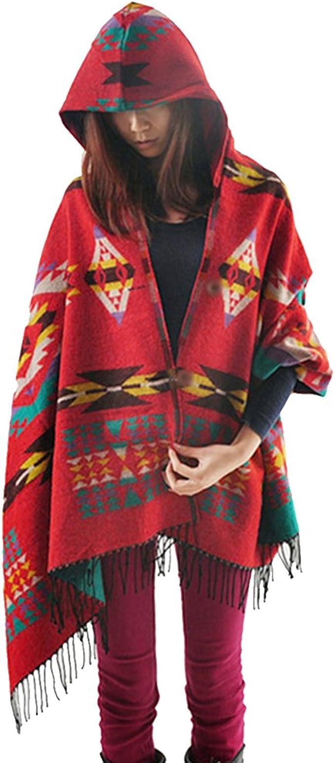 MeiPing Donna Retro Poncho Scialle Mantello Cardigan Oversize Scialle Poncho