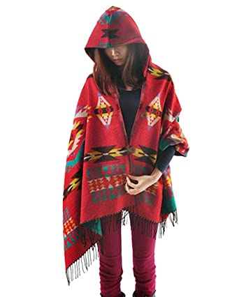 635a56b3bfb0 ZKOO Femme Tassel Poncho et Cape a Capuche Bohême Blanket Manteau Chaud  Cachemire Châle Cardigans Couverture