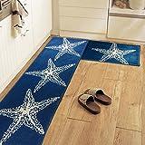 yazi Non-Slip Doormat Kitchen Rugs Mediterranean style With White Starfish (15.7x23.6inch + 15.7x45.3inch) Thanksgiving Gift