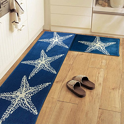 yazi Non-Slip Doormat Kitchen Rugs Mediterranean style With White Starfish (15.7x23.6inch + 15.7x45.3inch) Thanksgiving Gift by yazi