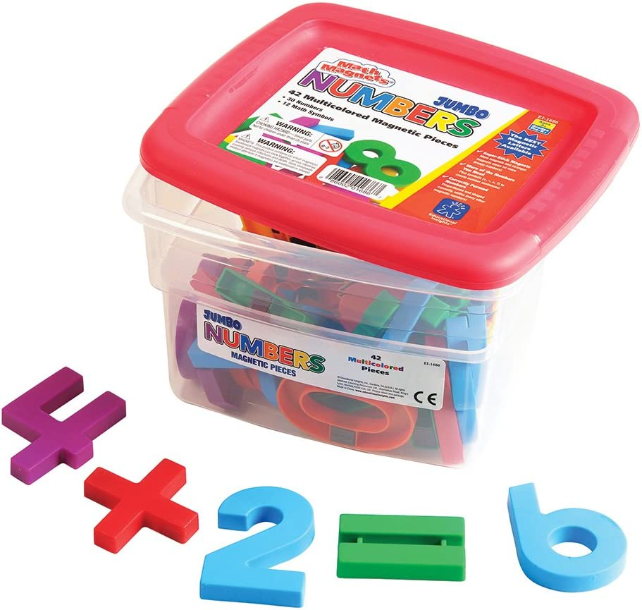 "Educational Insights Jumbo MathMagnets- Multicolored, Measuring 2.5"", Ages 4 and up, (42 pieces)"