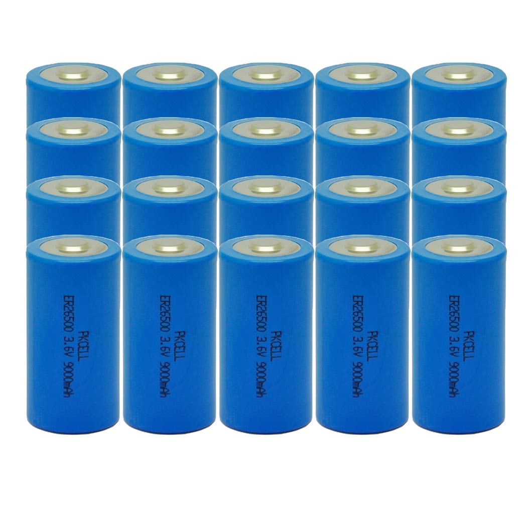 C Size 3.6V ER26500 9000mAh Lithium Thionyl Chloride Battery 20Pcs by PK Cell