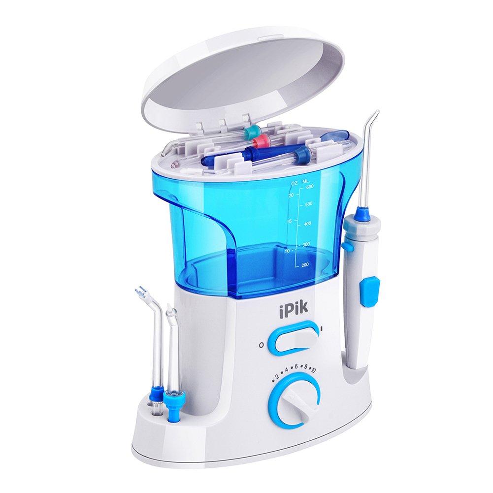 iPik Water Flosser Electric Oral Irrigator Family Dental Water Jet Dental Floss (9 Tips,US 2 Pin Plug)