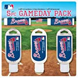 Worthy Promotional MLB Atlanta Braves Game Day Pack Includes 2 Lip Balm, 1 Hand Lotion, 1 Hand Sanitizer and 1 SPF 30 Sunscreen (5-Piece), 8 x 8 x 1.5-Inch, White