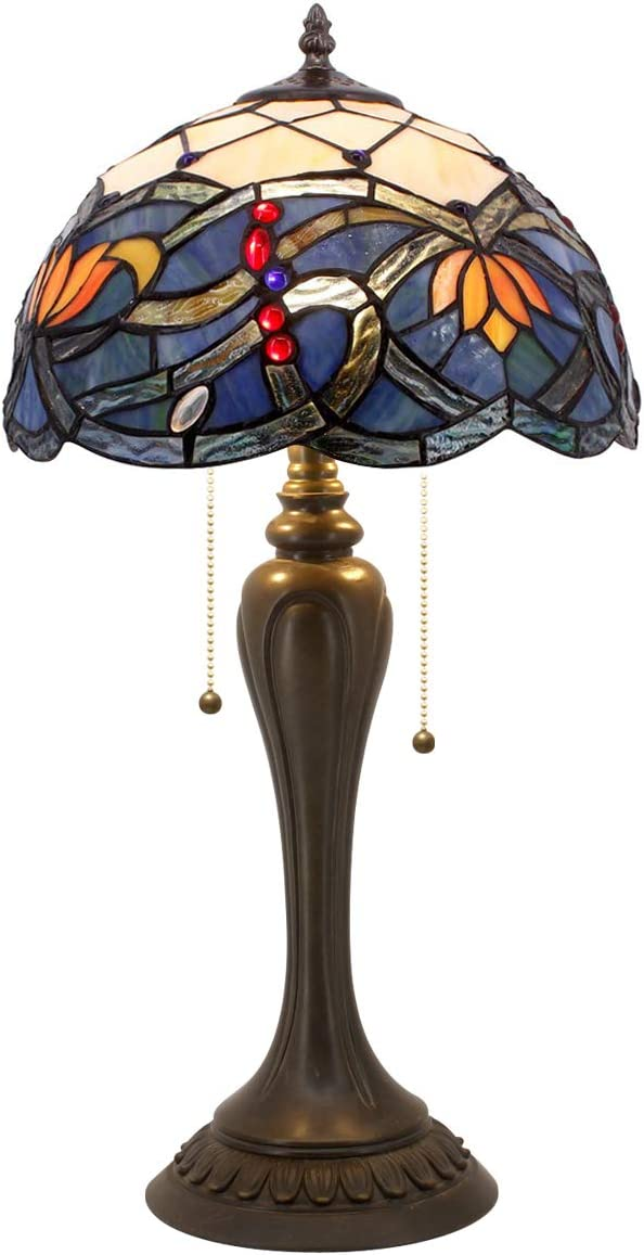 Stained Glass Lamps Tiffany Style Table Lamp 22 Inch Tall 12 Inch Wide Blue Purple Cloudly Crystal Flower Shade 2 Light Pull Chain ForLiving Room Bedroom Coffee Desk Beside Dresser S558 WERFACTORY