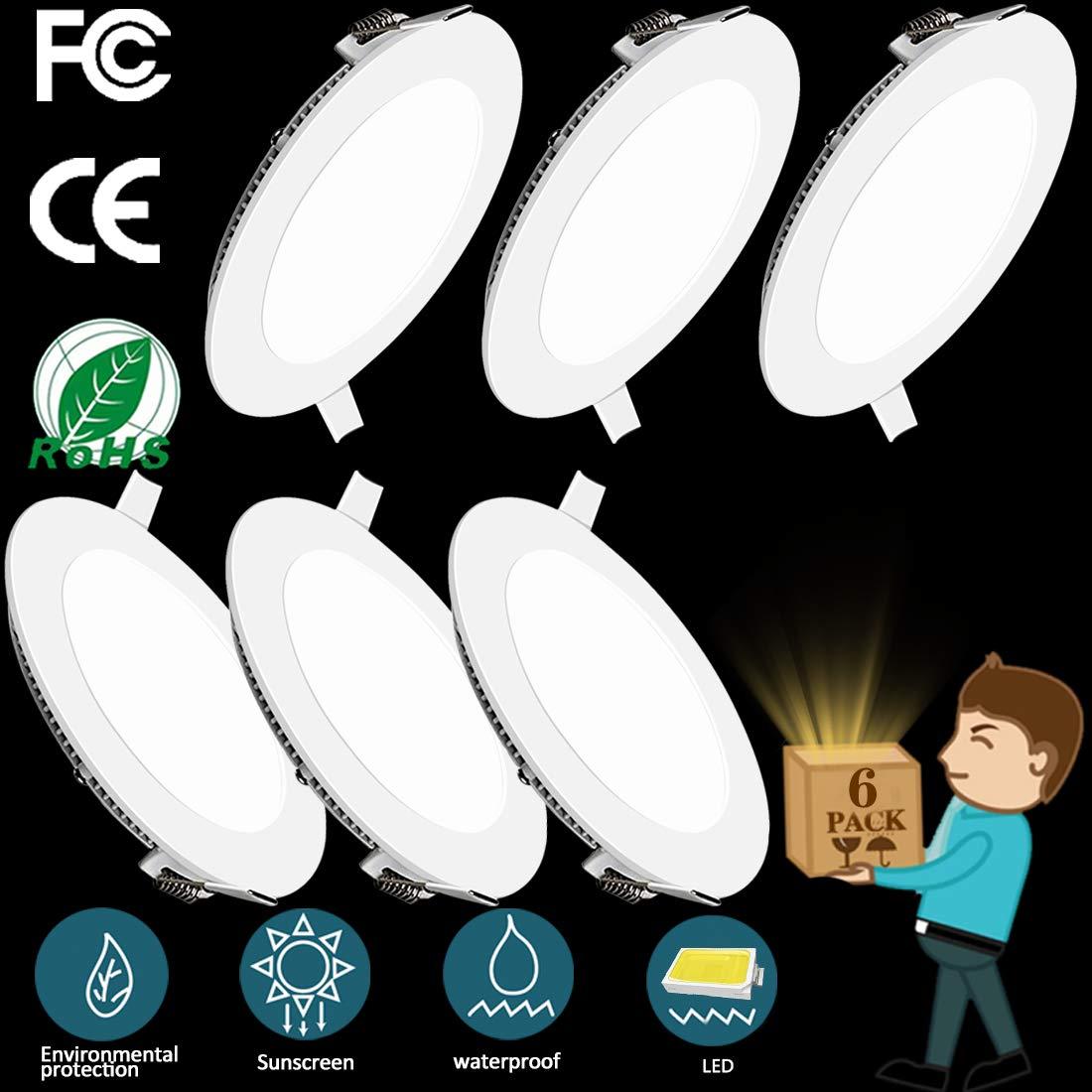 2 Pack LED Panel Light 15W 6500K Recessed Light Panel Round Ultra Slim Flat Panel Light Indoor Lighting for Home Living Room Bedroom Bathroom Office Corridor Hallways