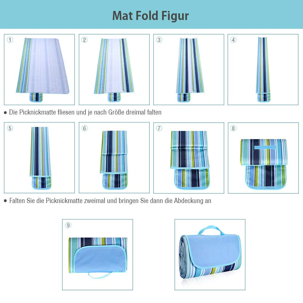 isYoung 200 x 145 cm XXL Picknickdecke Oxford Stoff wasserdicht mit Tragegriff Geeignet für Camping, Reisen und Strände (Blau)