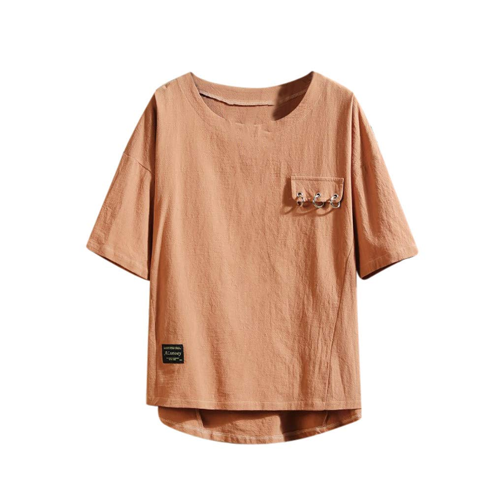 HimTak Men's Summer T-shirt with Short Sleeve, Pure Colour and Loose Collar(Coffee,M) by HimTak