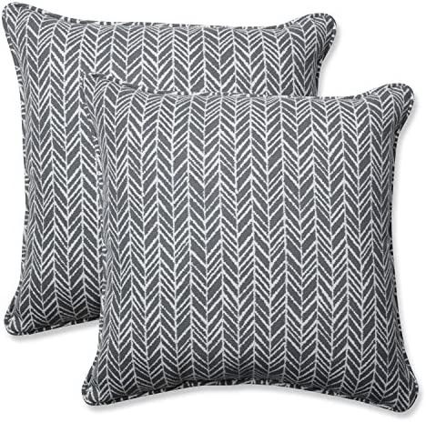 Pillow Perfect Outdoor Indoor Herringbone Slate Throw Pillows, 18.5 x 18.5 , Gray, 2 Pack