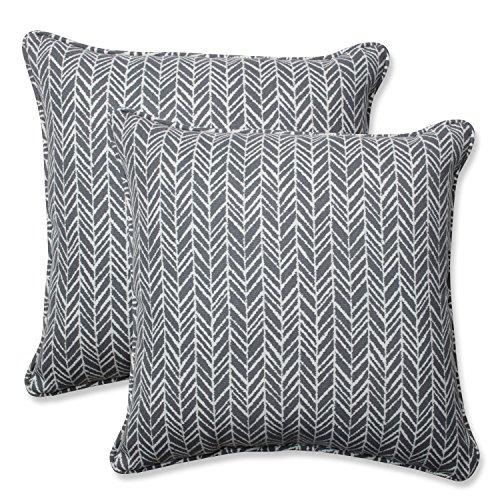 Pillow Perfect Outdoor | Indoor Herringbone Slate 18.5-inch Throw Pillow (Set of 2, 2 Piece