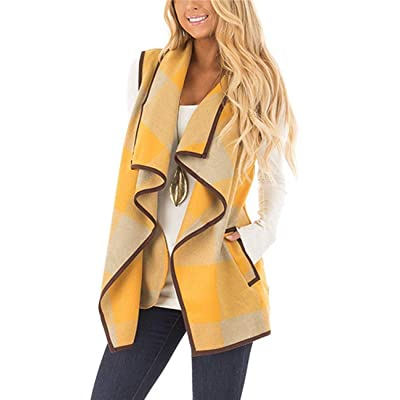 AKEWEI Sleeveless Vest Women Casual Color Block Open Front Plaid Cardigan Jacket with Pockets at Amazon Women's Coats Shop