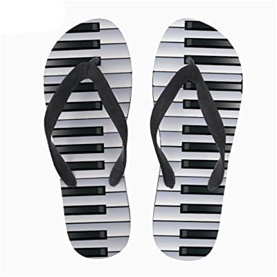 42ed8b597566 3D Music Notes with Piano Keyboard Print Flip Flops Men Casual Fashion House  Slippers Slip-