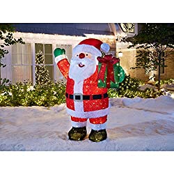Home Accents Holiday 84IN 400L LED GIANT FUZZY TINSEL SANTA...