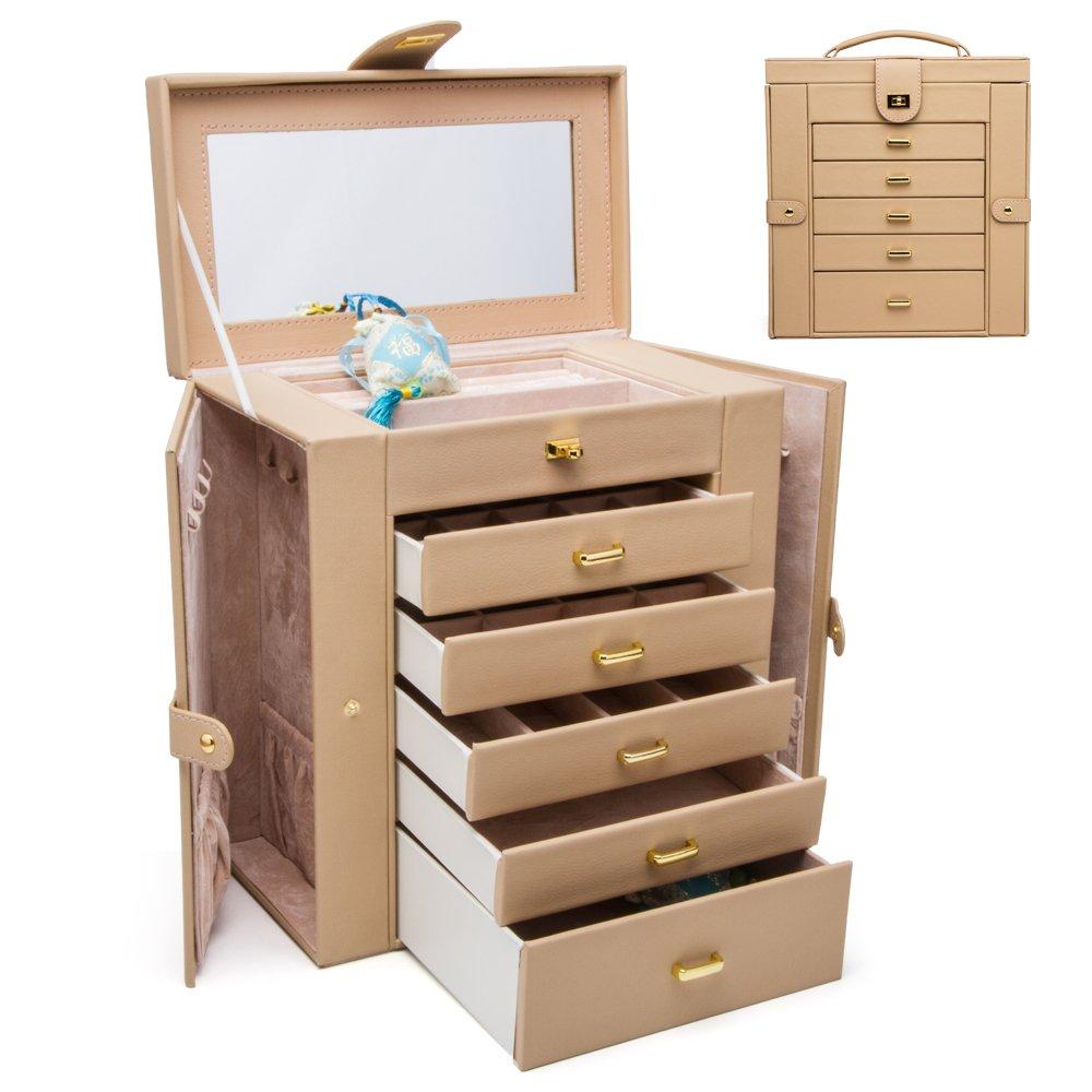 HEZALA Large Jewelry Organizer, Protoplasm PU Leather Jewelry Box, Lockable Mirrored Storage Boxes, Beige