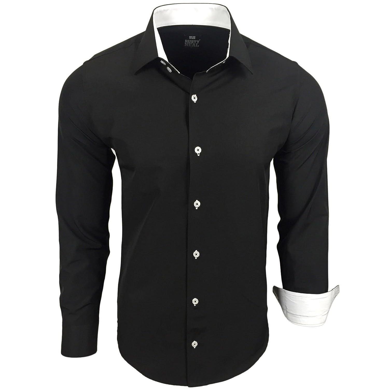 1e6727962e44 lovely Rusty Neal camisa Bicolor de manga larga, lisa, de hombre, corte slim