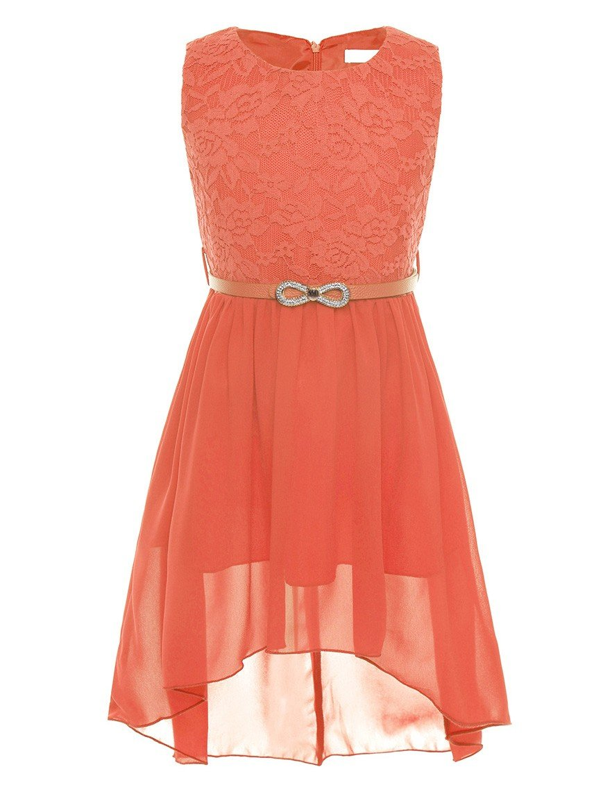 YiZYiF Kids Big Girls Lace Chiffon High Low Flower Dress Prom Party Gowns with Belt Orange 12