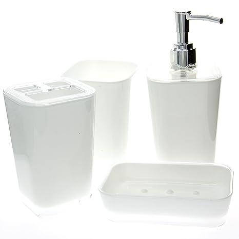 Juego de 4 accesorios para baño de plástico, compuesto por un dispensador jabón líquido,