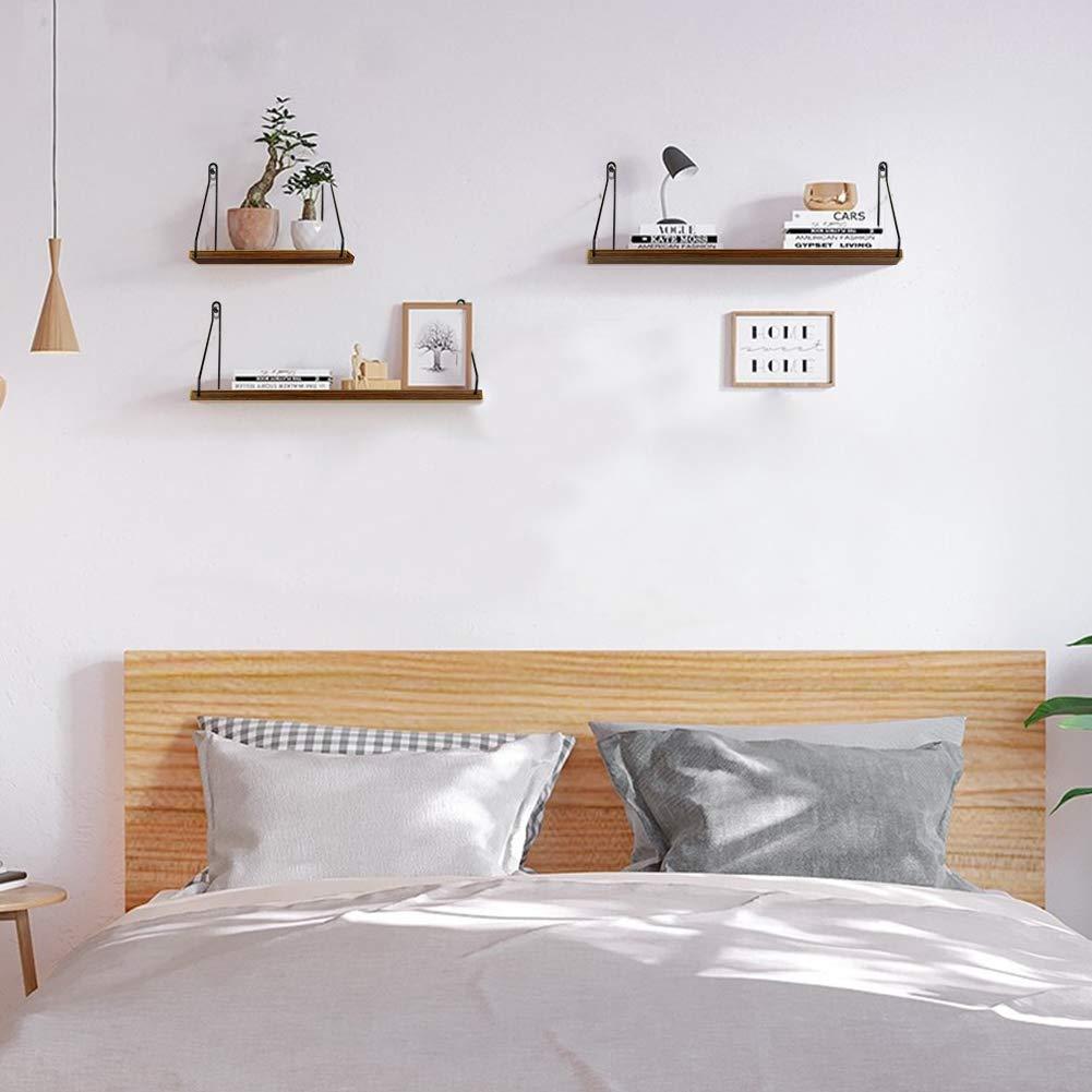 Essentials Rustic Wooden Floating Shelves Wall Shelf 2 Set for Bathroom Bedroom Living Room Kitchen Umi