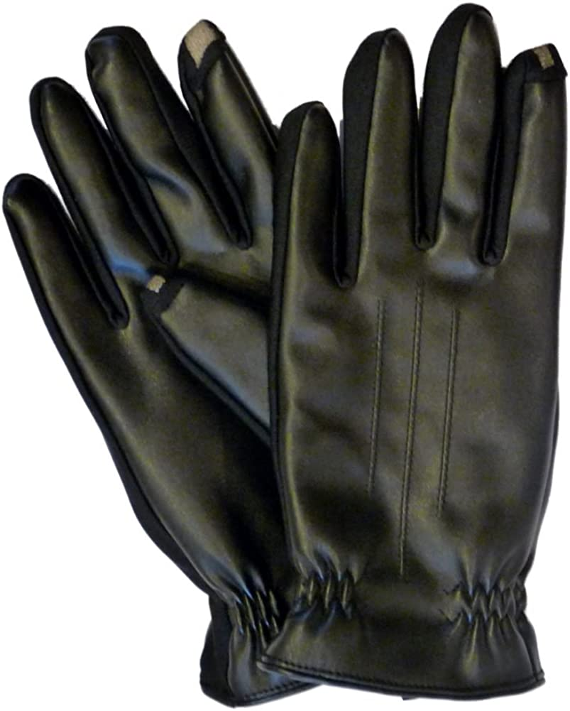 $174 Isotoner Signature Mens Black Smartouch Faux Leather Driving Gloves Size XL