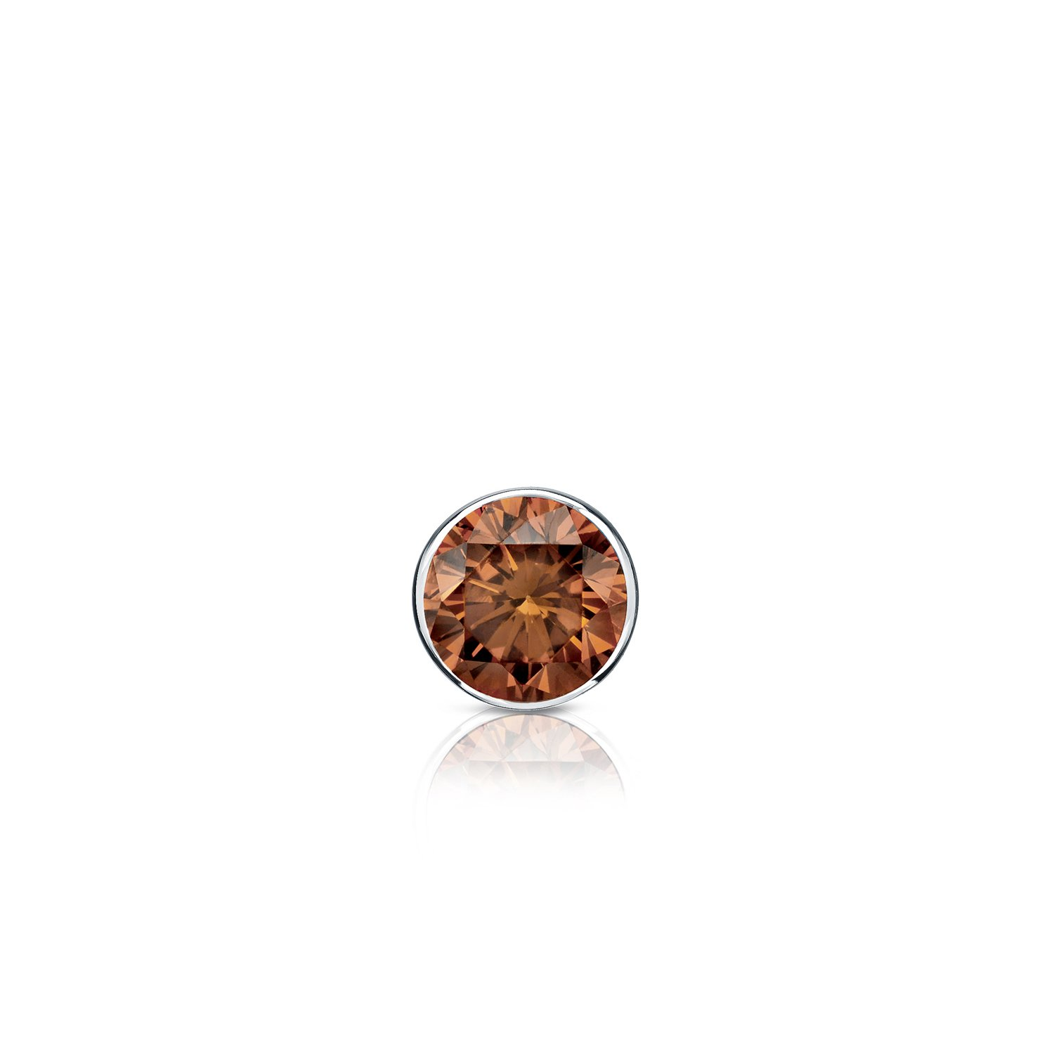 14k White Gold Bezel Round Brown Diamond SINGLE STUD Earring 1//8 cttw, Brown, SI1-SI2