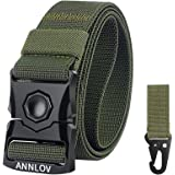ANNLOV Tactical Belt,Military Style Webbing Riggers EDC Work Belts Heavy-Duty Quick-Release Metal Buckle for Men and Women