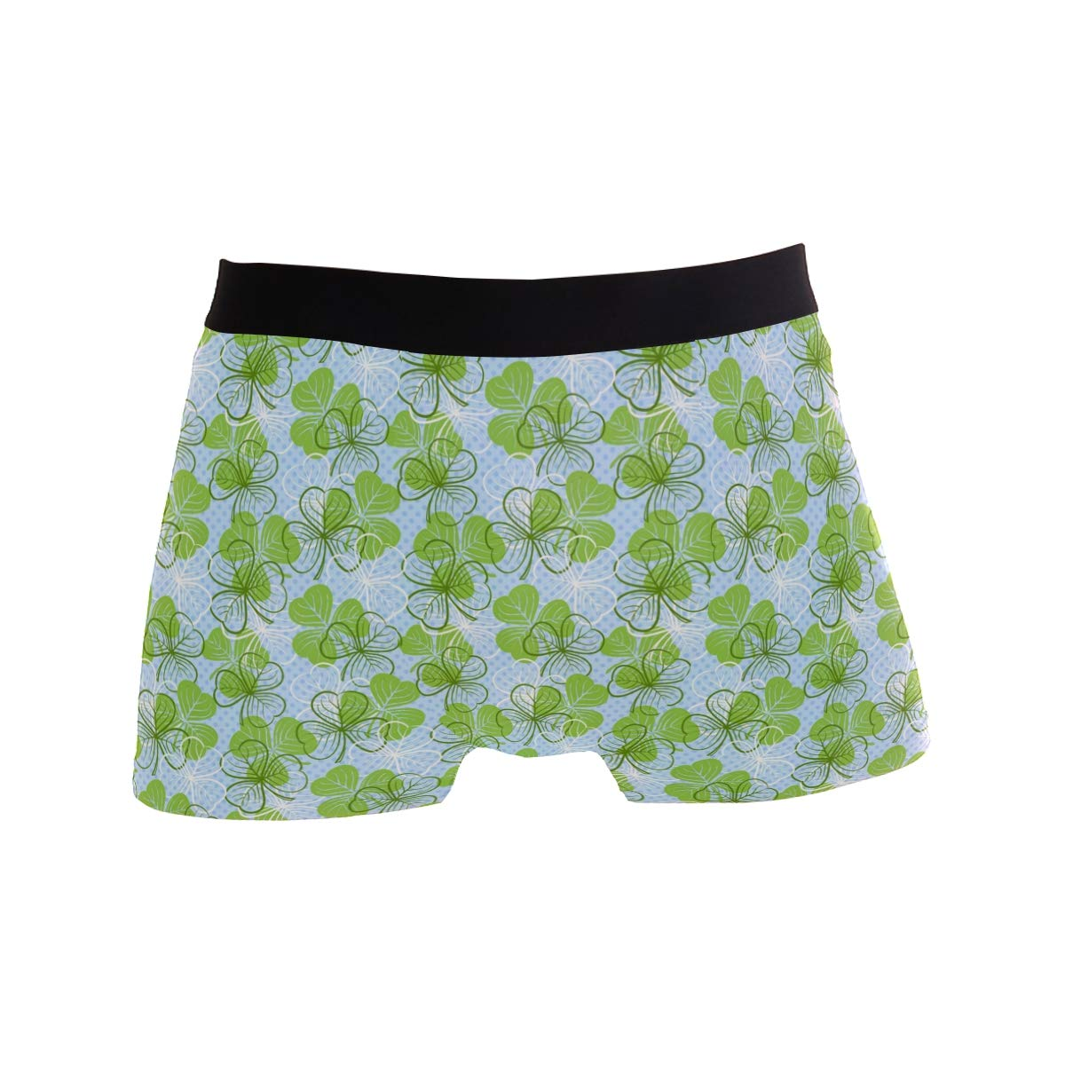 Mens Soft Breathable Happy St Patricks Day Sign Clover Decorations Underwear Boxer Briefs