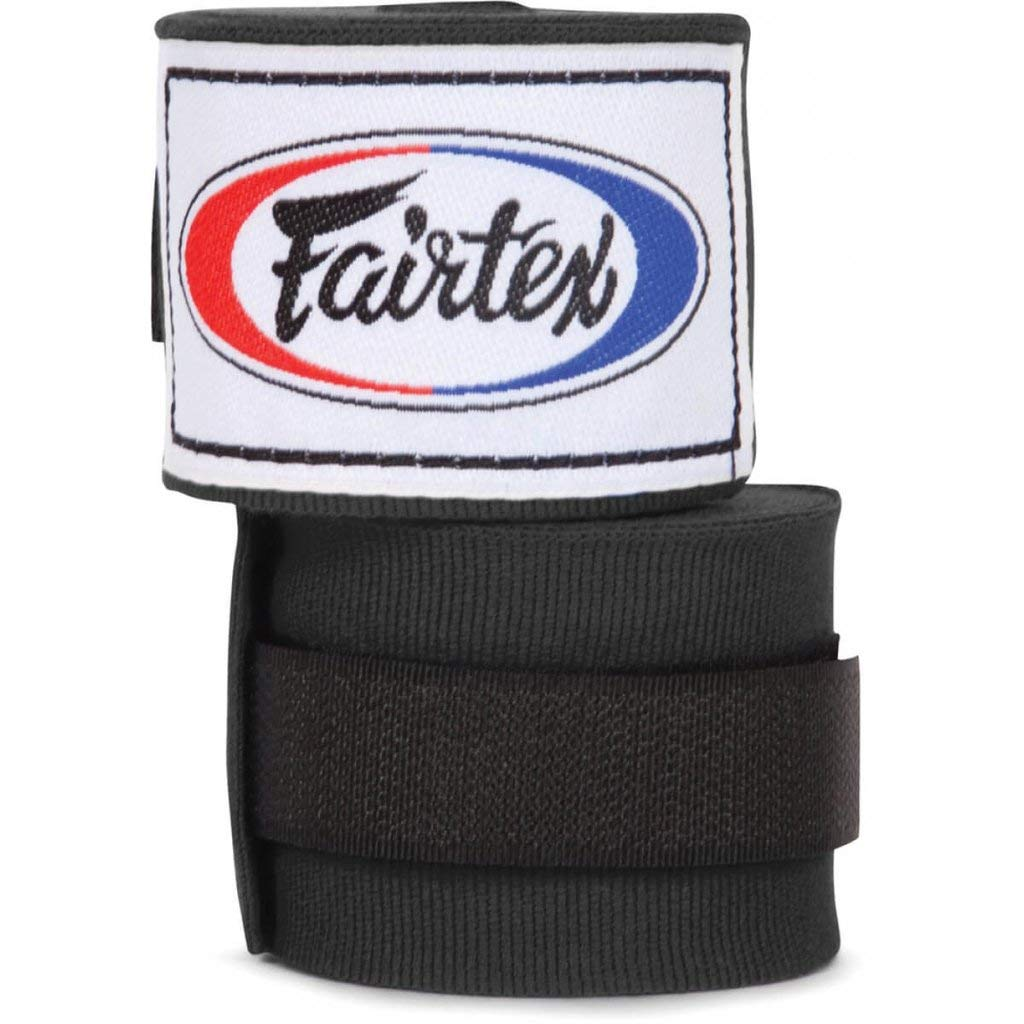 Fairtex Authentic Black Traditional Stretch Elastic Hand Wraps 4.5M Pair