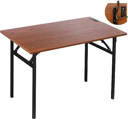 Folding Computer Desk 43.4'' No Assembly Writing Desk