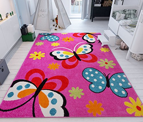 (Well Woven Modern Rug Daisy Butterflies Pink 5' x 7' Accent Area Rug Entry Way Bright Kids Room Kitchn Bedroom Carpet Bathroom Soft Durable Area Rug)