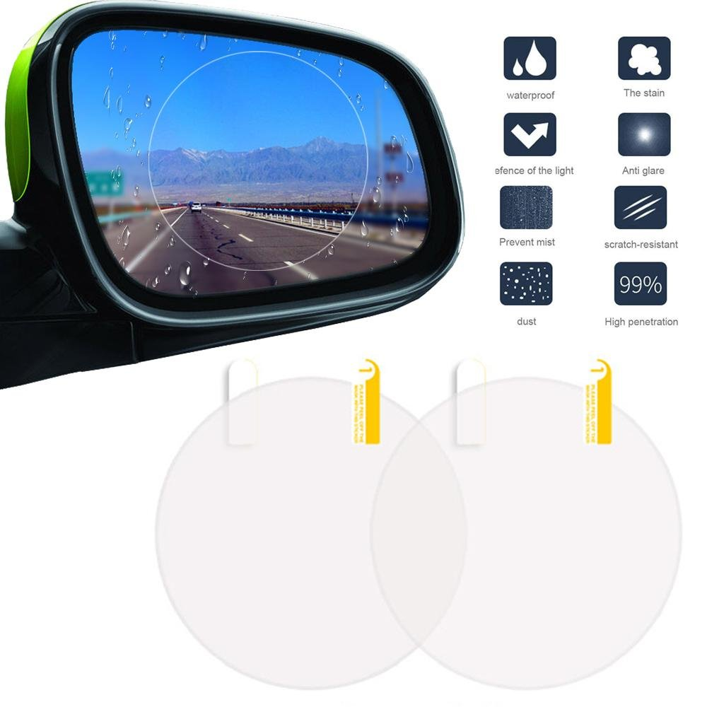 Car Rearview Mirror Rainproof Film, Umiwe 2PCS Car Anti Fog Film Anti-Glare Anti Mist Anti-Scratch Waterproof Rear View Mirror Window Clear Protective Film (Suitable for All Cars) 6272875664265