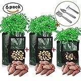 Lamptop Pack of 6pcs Potato Grow Bags Tool Kit, 2PCS 10 Gallon and 1PCS 7 Gallon Garden Vegetables Planter Bags with 3Pcs Planter Tools for Planting Vegetables,Onions,Radish,Taro,Carrots