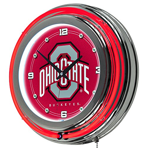 NCAA Ohio State University Chrome Double Ring Neon Clock, - State University Clock Neon