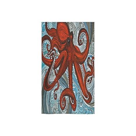 Cute Octopus Art diseño personalizado mano toalla absorbente (16 x 28inches) suave se puede