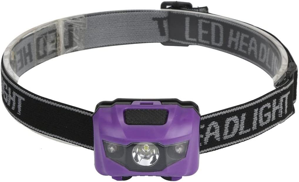 YUYOUG R3 2LED Mini Headlight Waterproof Headlamp 300Lumens Flashlight 4 Mode Super Bright Torch Light for Running Camping Hiking Fishing Purple