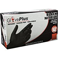 AMMEX - GPNB46100-BX - Nitrile - GlovePlus - Latex Rubber Free, Disposable, Powder Free, Industrial, 5 mil, Large, Black (Box of 100)