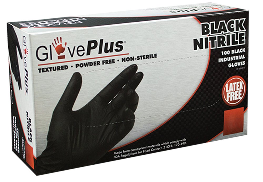 AMMEX - GPNB42100-BX - Nitrile - GlovePlus - Latex Rubber Free, Disposable, Powder Free, Industrial, 5 mil, Small, Black (Box of 100)