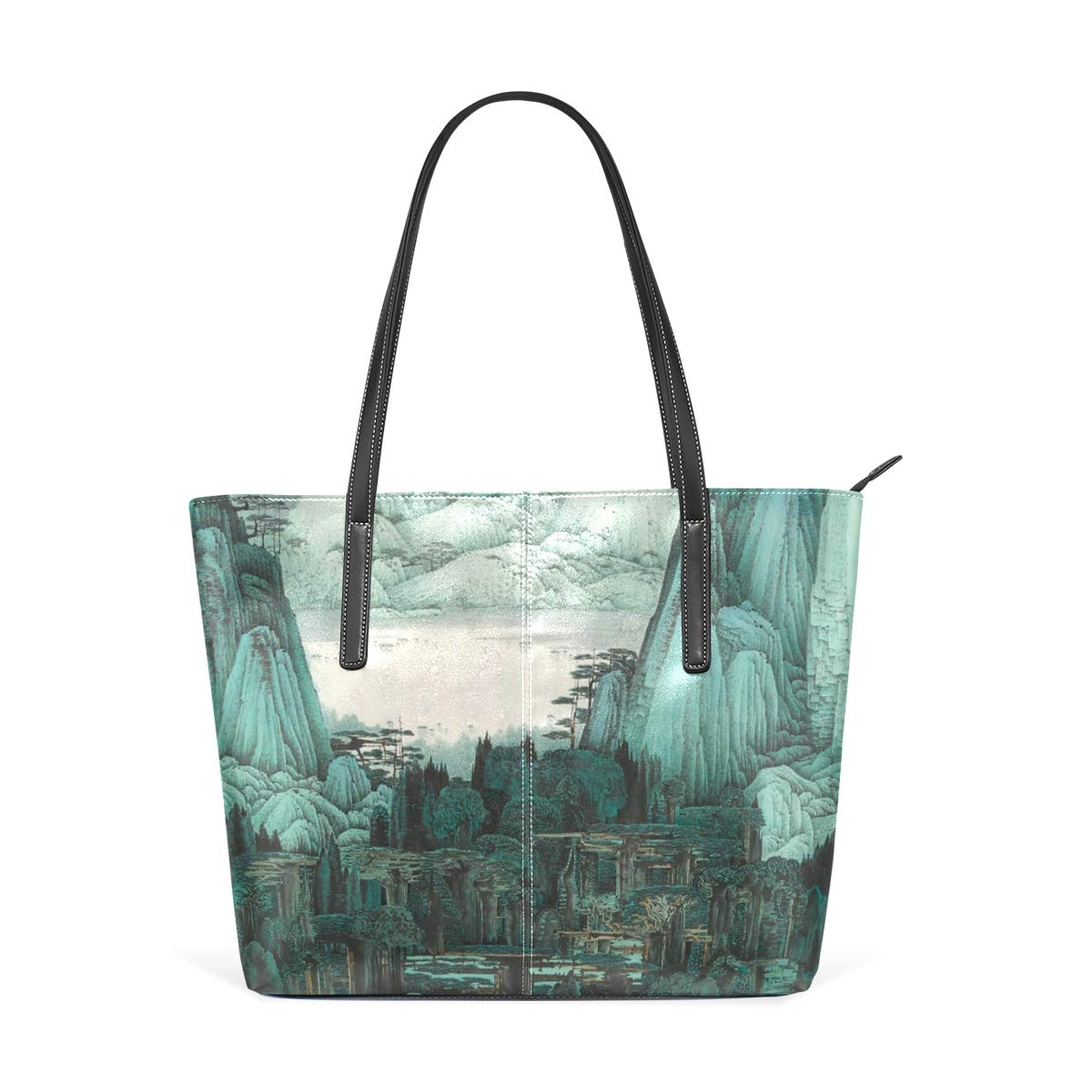 Landscape Painting Art Womens PU Leather Tote Shoulder Bags Handbags Casual Bag