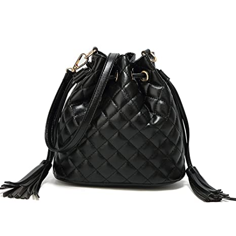 b2e8e16f2c35 Amazon.com  Toniker Leather Drawstring Bucket Bag Fashion Tassel Handbags  Casual Crossbody Bags for Women with Long Shoulder Strap  Sports   Outdoors