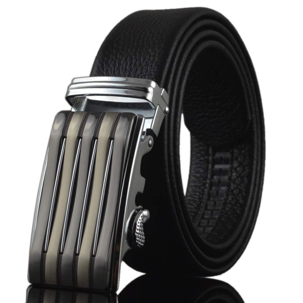 DENGDAI Mens Leather Belt Automatic Buckle Belt Length 110-130cm