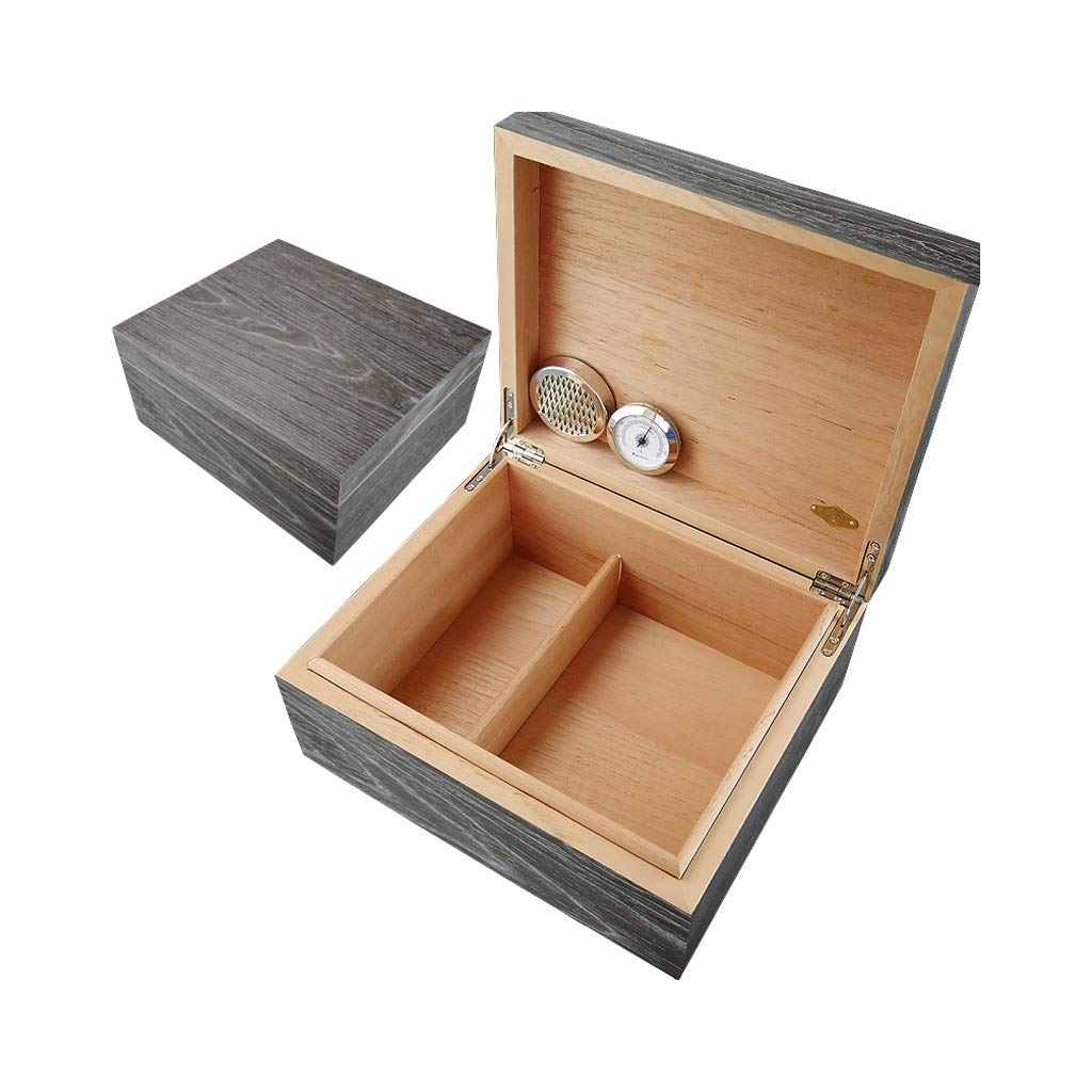 Portable cigar box Cigar Box, Cigar Cabinet Thickened Cedar Wood Lined Cigarette Box with Hygrometer and Humidifier Constant Temperature and Humidity Seal, Men's Gift Box Storage Box Large Capacity, A