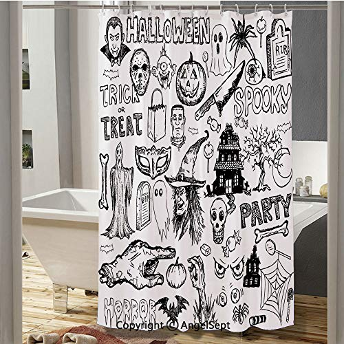RWNFA Hand Drawn Halloween Doodle Trick or Treat Knife Party Severed Hand Decorative Bathroom Shower Curtain(37