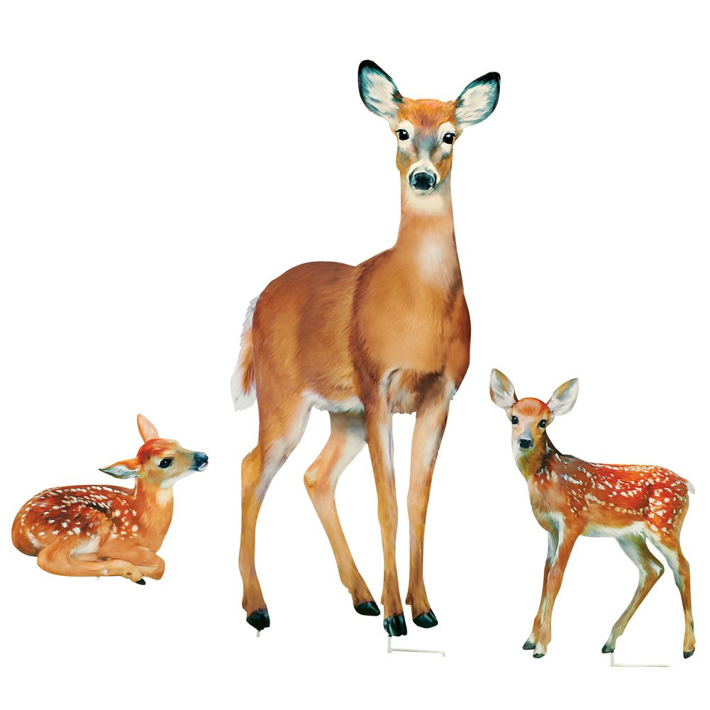 Collections Etc Family of Deer Realistic Garden Stakes Set, Lawn Décor, 3 Pc