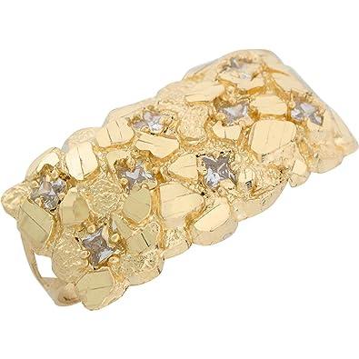 10k Yellow Gold White CZ Diamond Cut Nug Style Two Finger Mens