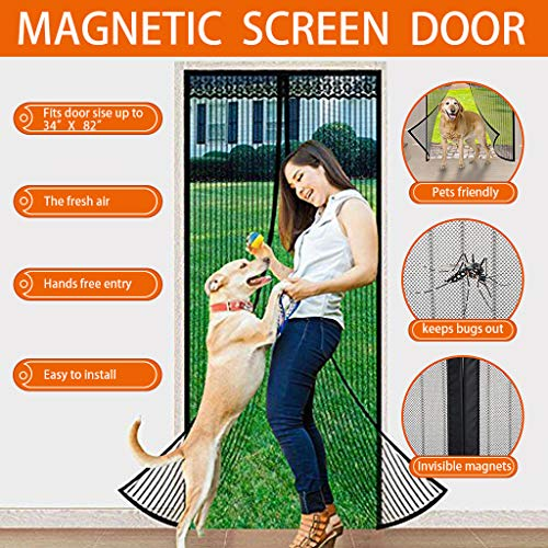 LOOCH Magnetic Screen Heavy Duty Mesh Curtain and Full Frame Velcro Fits Door Size up to 34-82...
