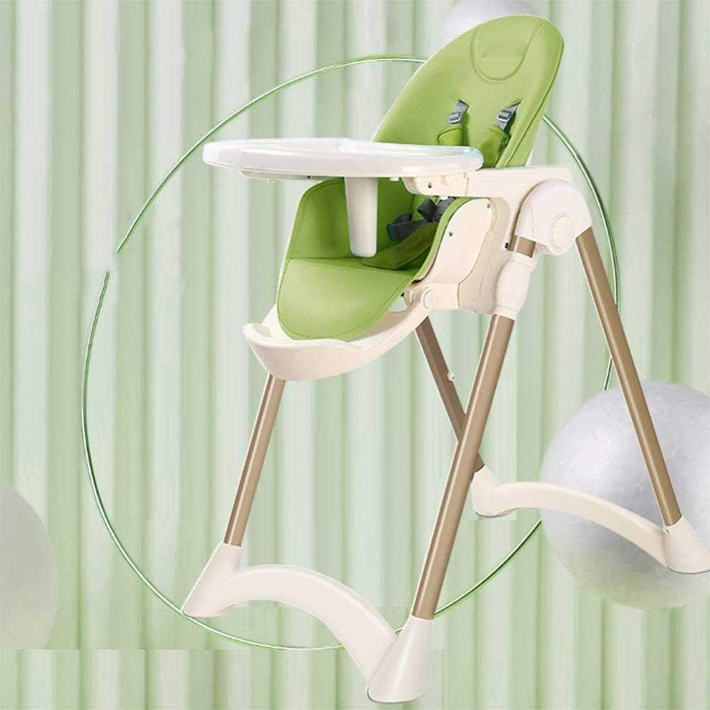 Alimentación del bebé silla alta |Regulación de la altura de 5 velocidades |6 meses a 6 años de edad (Color : Green)